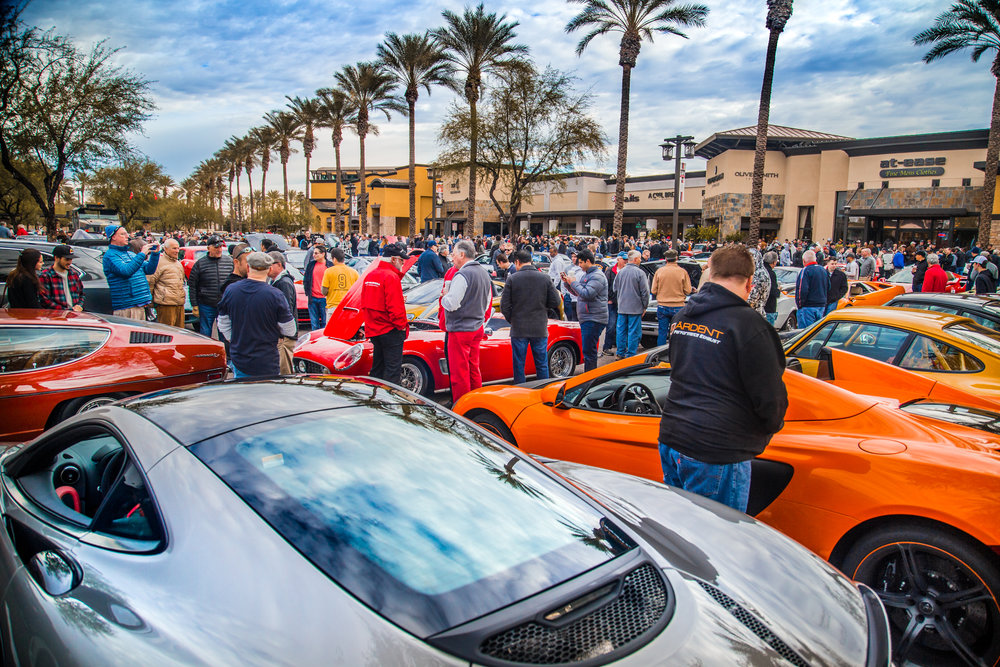 First Saturday Motorsports Gathering. - What began as a small 'cars and coffee' meet-up has grown into one of the premier 'see and be seen' events in Arizona. We have multiple space/price configurations for sponsors at our location within the Scottsdale 101 Shopping Center, strictly limited to organizations aligned with the automotive industry. The crowds for this once monthly event are nothing short of enormous. Contact us to become a part of one of the best networking and marketing opportunities in the Phoenix area!