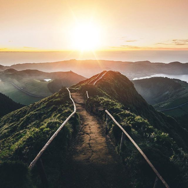 path into the sunset. this is the portuguese version of the haiku stairs from hawaii.