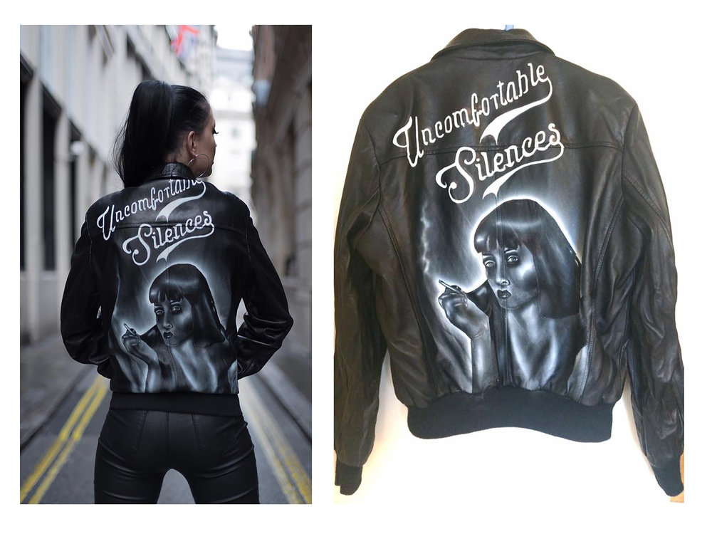 Custom vintage leather jacket with Pulp Fiction quote by Kate Lomax Art