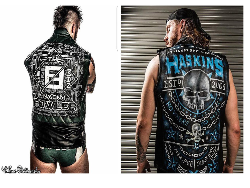 Custom jackets for wrestlers Mark Haskins and Luke Fowler by Kate Lomax Art