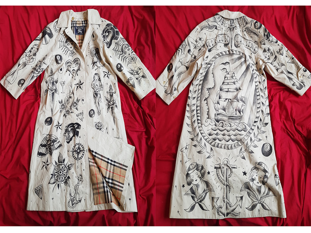 Custom vintage Burberry with traditional sailor jerry tattoo style design by Kate Lomax Art.