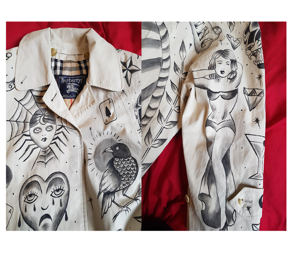 Custom vintage Burberry trench coat with traditional sailor jerry tattoo style design, by Kate Lomax art.