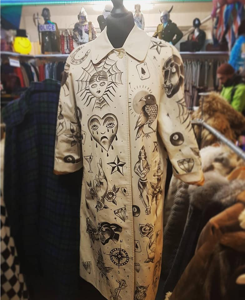 Vintage custom Burberry trench coat hand painted with traditional sailor jerry tattoo design, by Kate Lomax Art