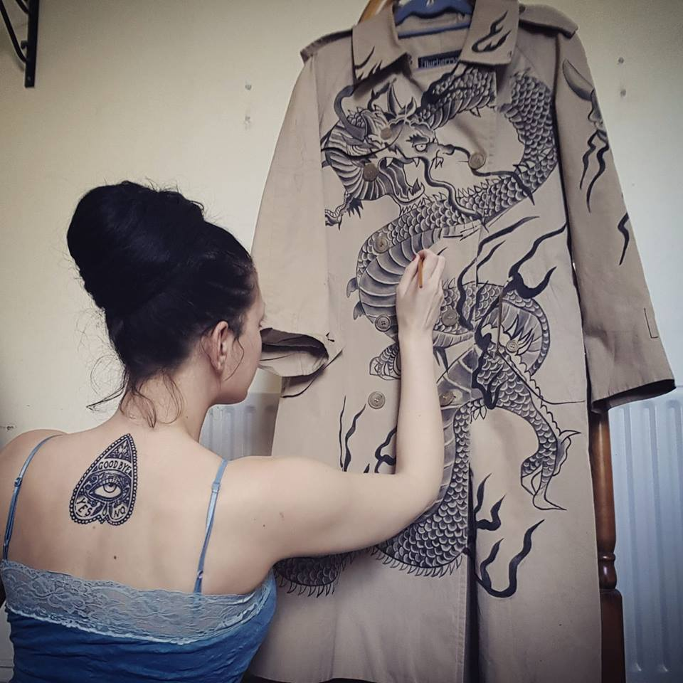 Vintage custom Burberry trench coat hand painted with traditional japanese tattoo design, by Kate Lomax Art