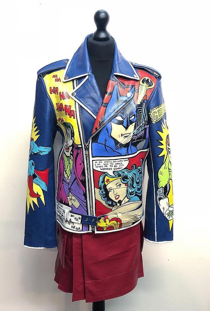 Vintage custom blue leather coat hand painted with comic book design, by Kate Lomax Art