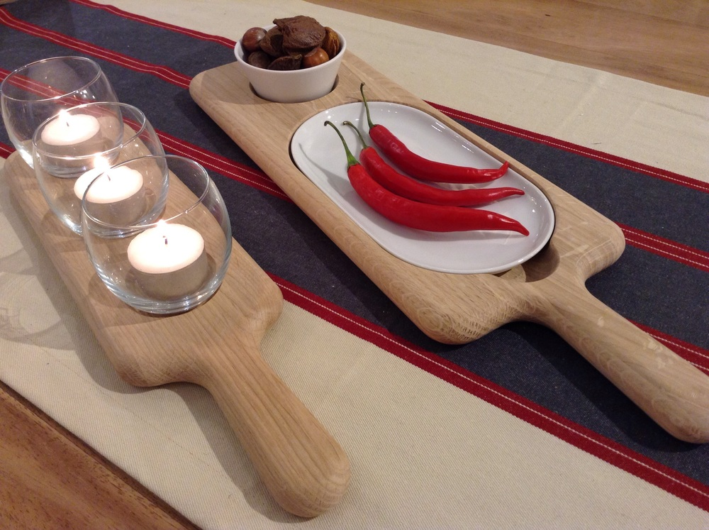 Oak paddle board with 3 glass tealight holders £20.00 (comes with 3 tea lights so good to go).      Oak paddle serving set £39.00 (chillies not included!!)