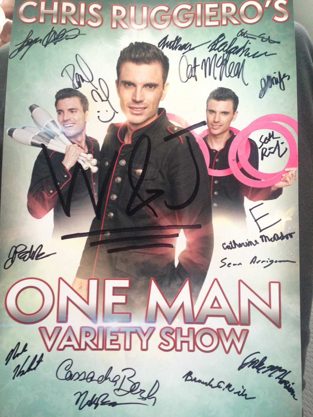 Here's a poster from a recent show at Washington & Jefferson College the audience members signed FOR ME after the show.