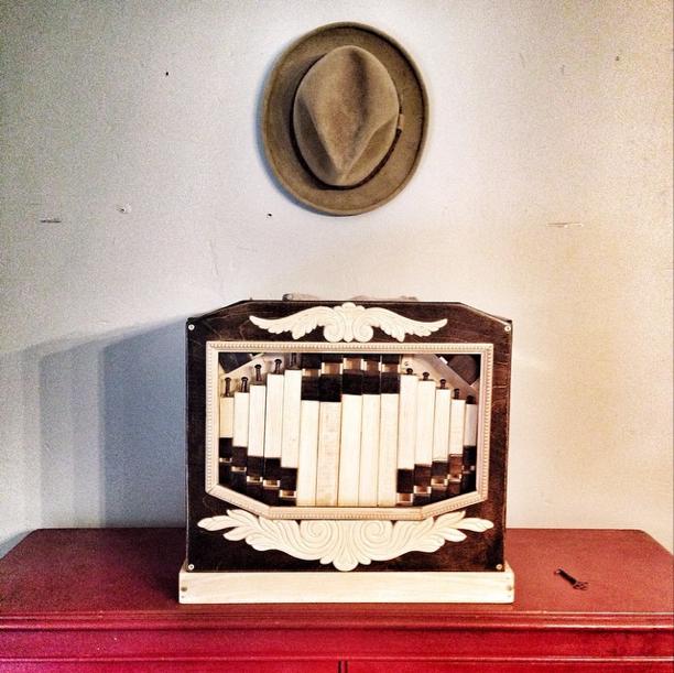 Mario's handmade crank busker organ.