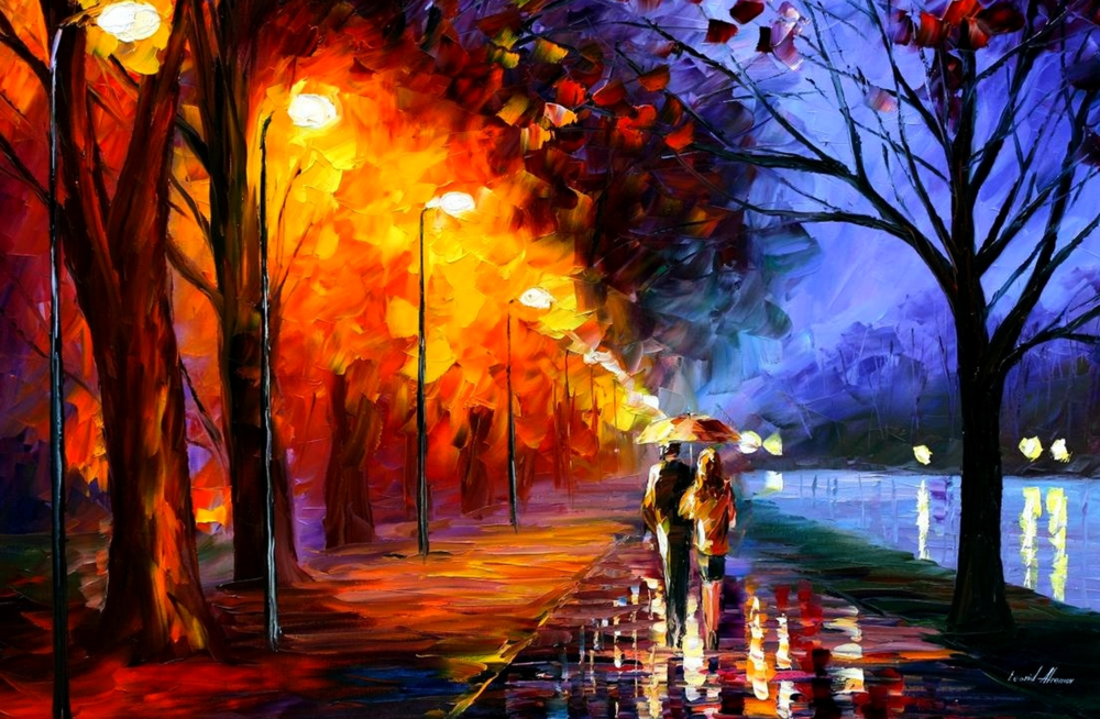 Alley by the Lake by Leonid Afremov. I love his art. It makes me feel good.