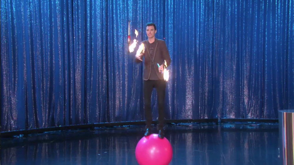 Fire Juggler, Chris Ruggiero, juggling on Ball on Ellen Degeneres Show