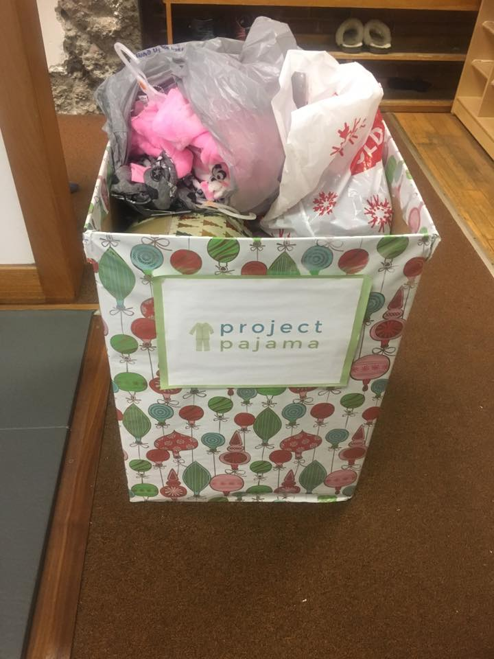 Over 100 pajamas donated to Project Pajama to help kids in need sleep a little warmer during the winter.