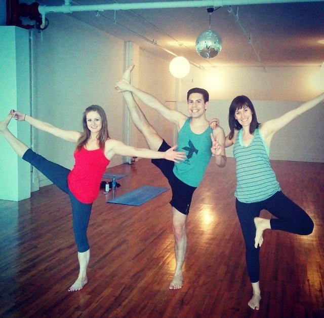 Steph and I having fun with yogi Humberto at  Strala Yoga . Fun fact:we ran into Humberto at both Siggy's and Terri.