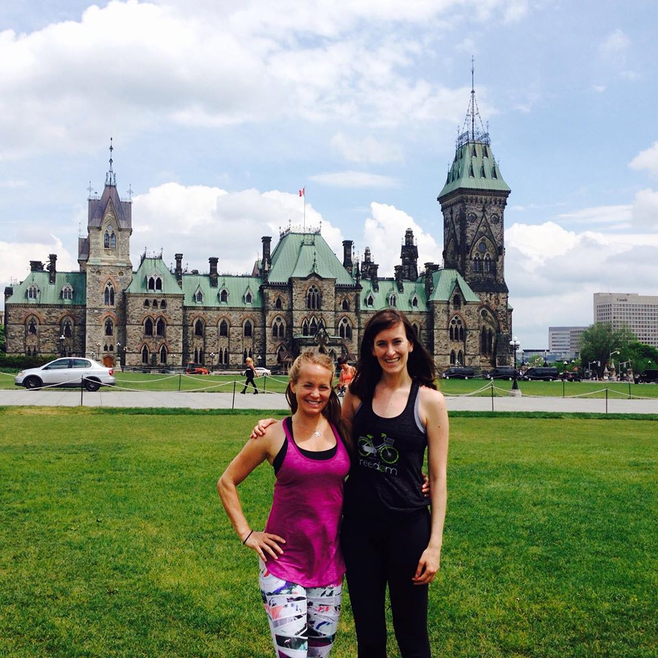 Andrea and I just after she lead hundreds of yogis through a yoga practice on Parliament Hill (May 2015).