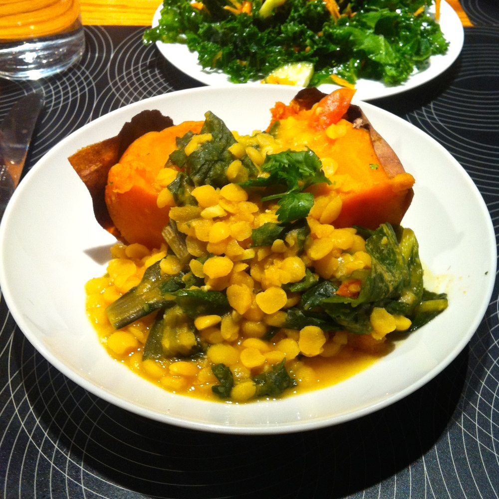 Split Pea Dahl, Baked Sweet Potato & Kale Salad