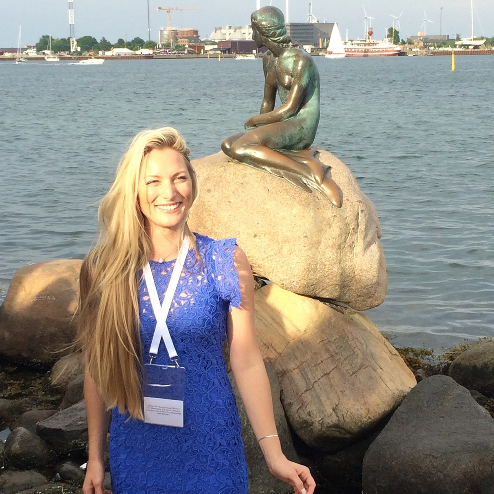 "Taylor in   Copenhagen by the ""Little Mermaid"" statue."