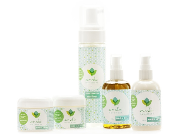"The Eco Chic Movement ""Baby Shower Gift Set"" contains diaper cream, baby wash/shampoo, face cream, lotion & massage oil."