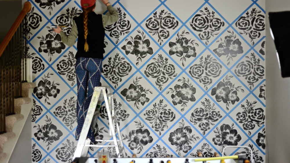 Each pattern is symmetrically flipped of it's matching pattern horizontally and vertically. This keeps the entire wall looking coordinated and slightly different in each section.