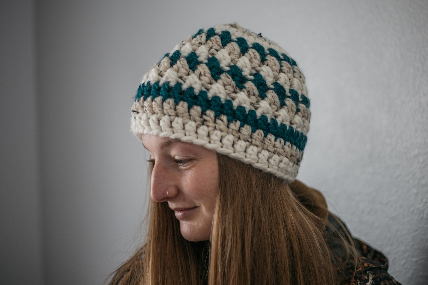 Forest Green Striped Beanie — Elsa Rhae 89c97d1e0b9