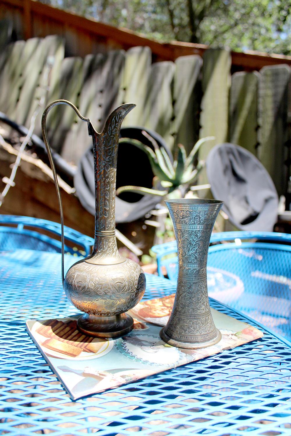 (maybe) Moorish brass pitcher ($5)and vase ($4)