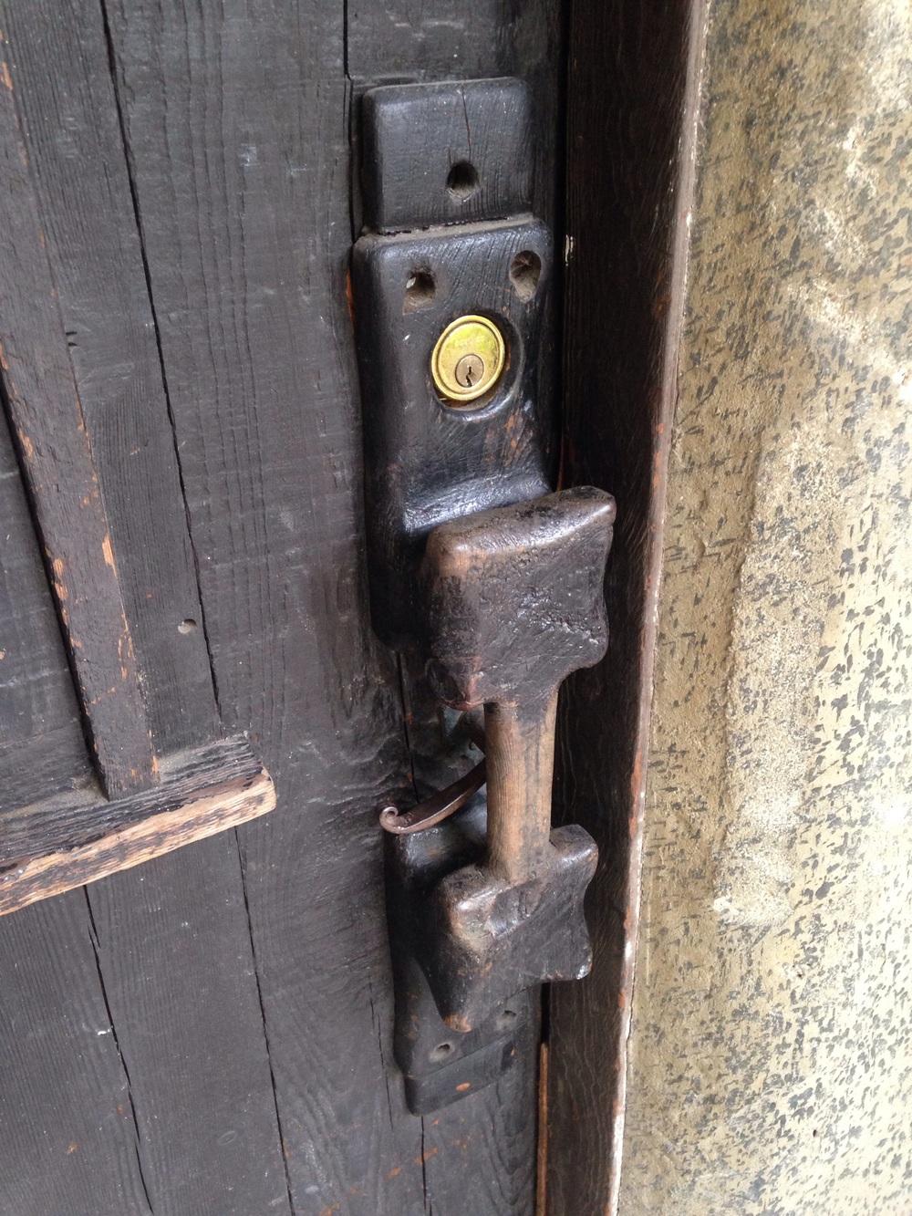 Redwood burl front door pull. The rest of the door is... redwood also.