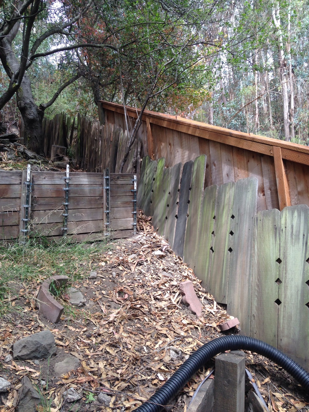 Fancy old redwood fencing boards next to redwood grape stake fence next to redwood retaining wall