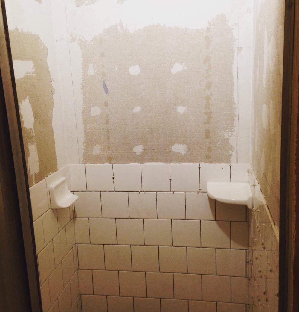 Redoing Back Bath In Progress MAYBECK - 6x6 tiles in shower