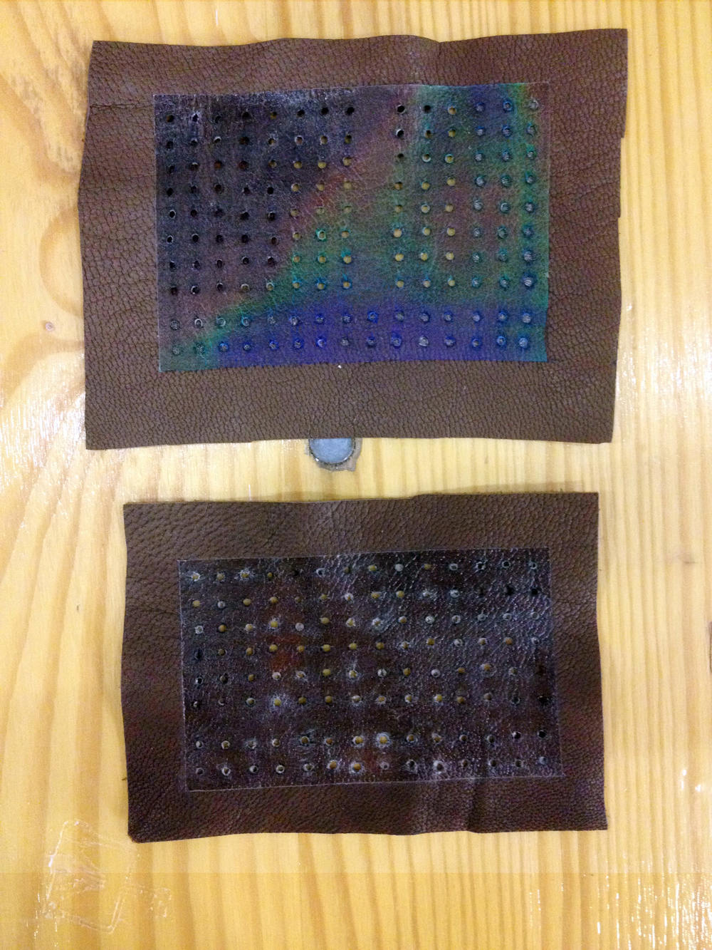 eTextile breadboard. coated with thermochromic liquid crystal to indicate if the surface changes temperature