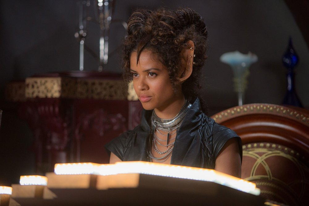 Gugu Mbatha-Raw wears Rachel freire AW11 in Jupiter Ascending
