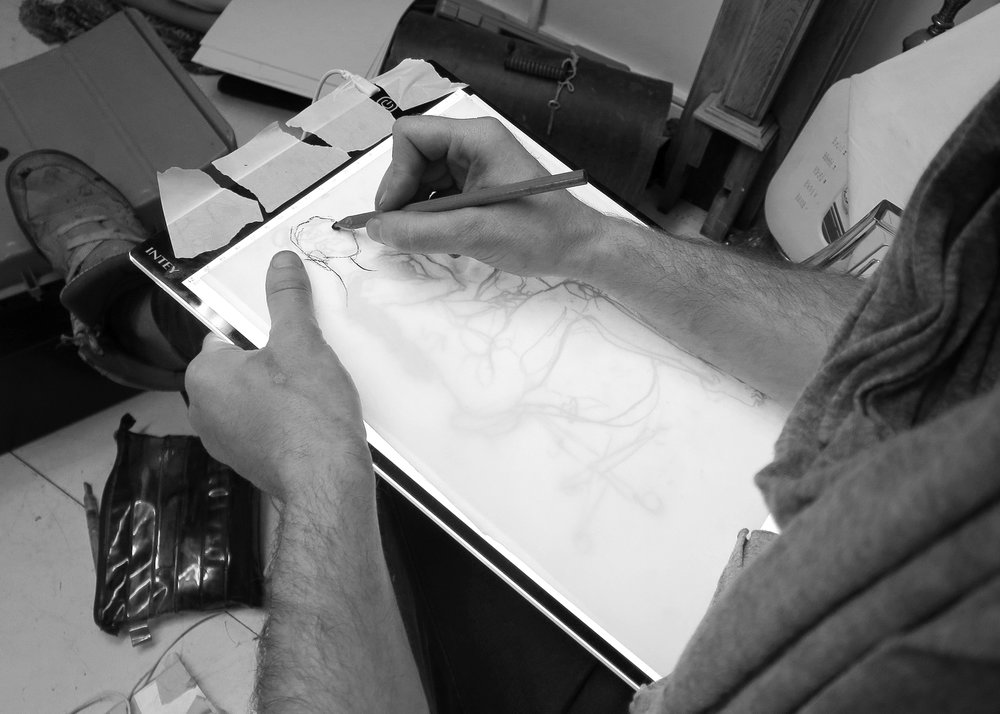 Aaron layering drawings of Manko for a 360 animation
