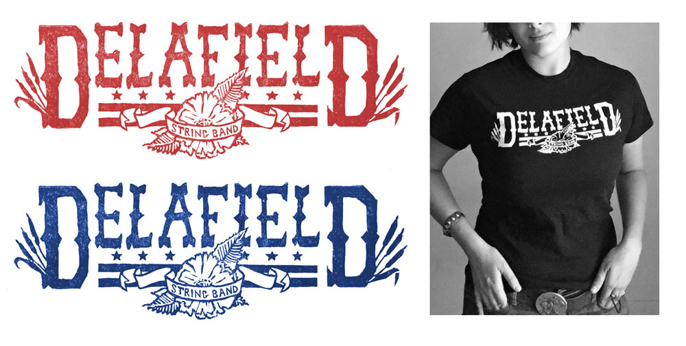 Delafield String Band; Linocut Block Print, 2013
