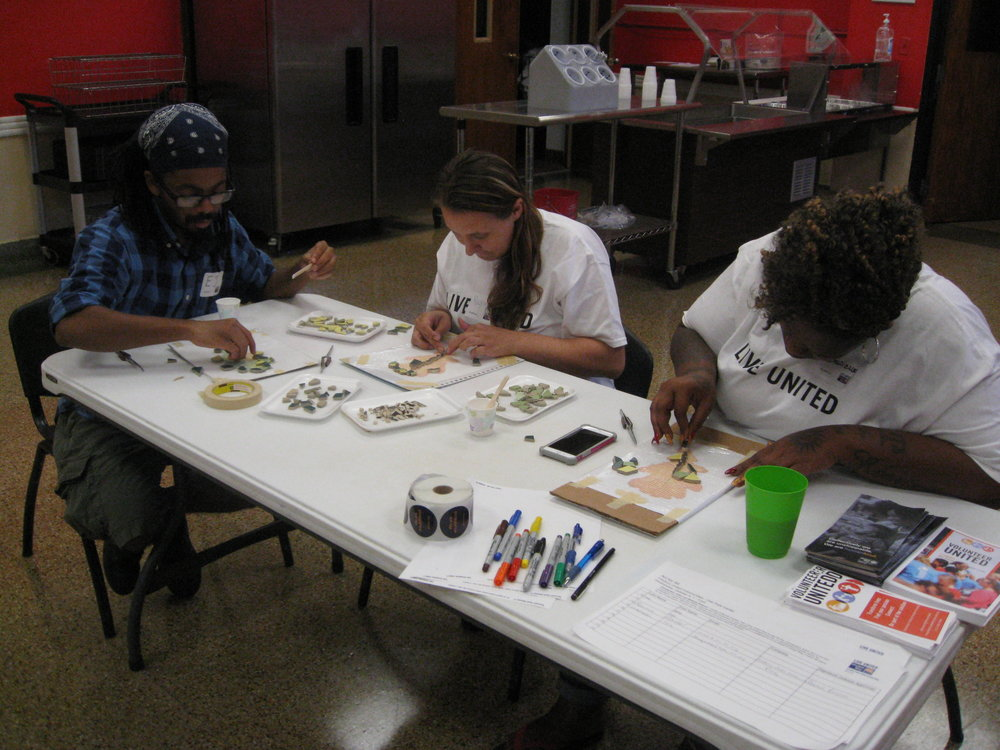 Throughout fall 2016 and winter 2017, Mica taught over 100 volunteers the basics of mosaic-making, giving them the skills they need to unleash their own creativity as they make something beautiful for the community.