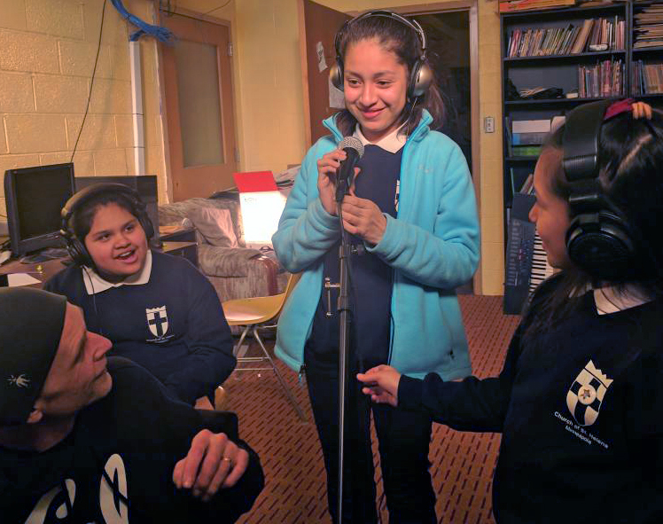 "Students recording a song with Stefon ""Bionik"" Taylor"