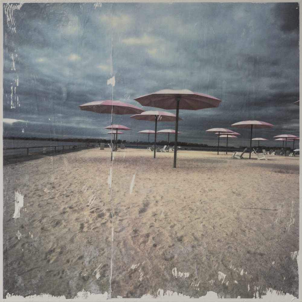 """Sugar Beach""   15x15inches - Gel medium transferred photograph"