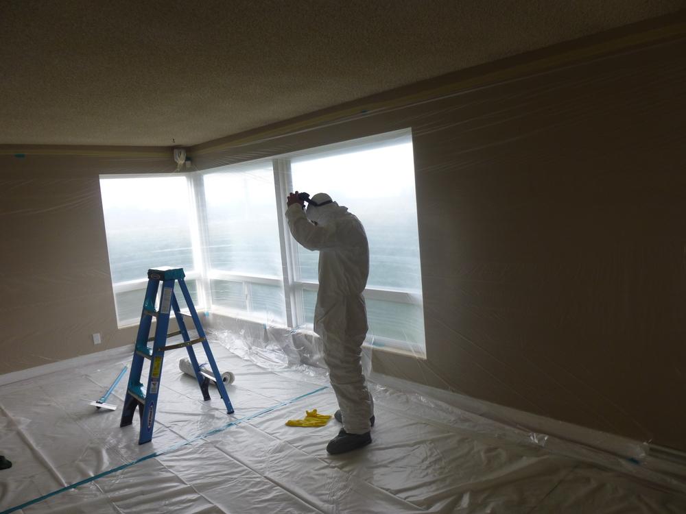 Worker - Popcorn ceiling.JPG