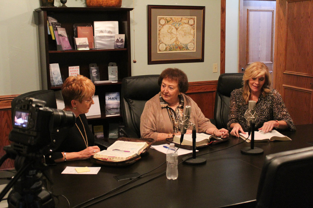Kitty, Doris and Christi recording/filming their monthly podcast. (starting in December 2018)