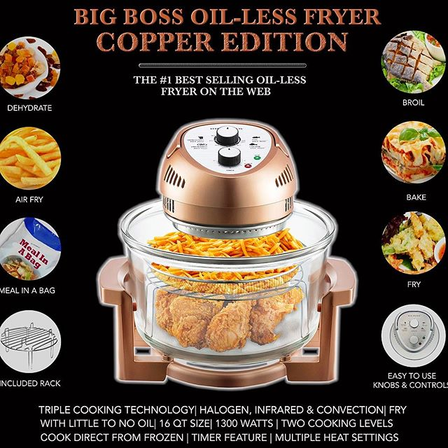 Make healthy meals the easy way in this beautiful copper oil-less fryer from Big Boss! Available on Amazon and a major retailer near you! #healthyfood