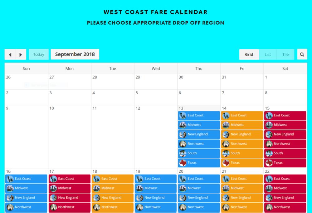 Next- Find Drop Off Region & Review Low Fare Calendar