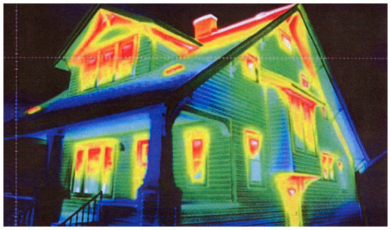 An Infrared camera shows a dramatic heat loss. This could cost you hundreds of dollars a year on your heating and cooling bills
