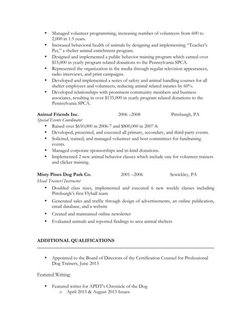 Resume & CV — Nicole Skeehan, CPDT-KA