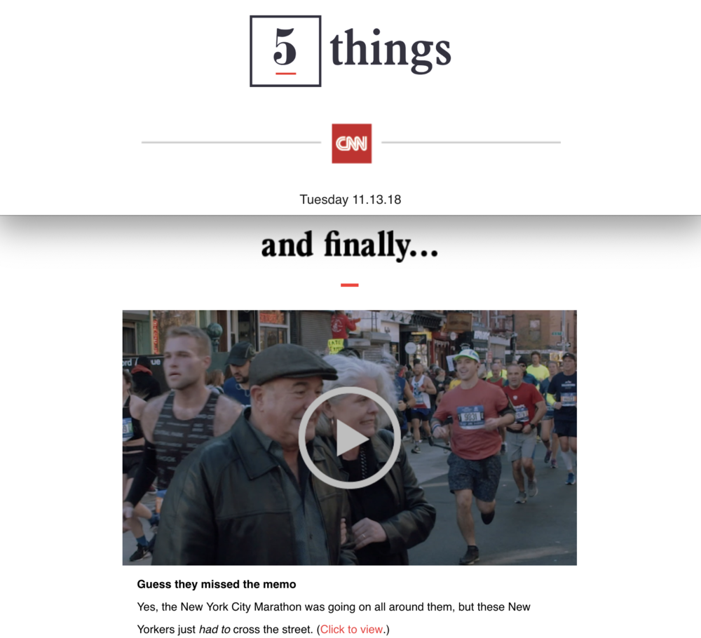 """CNN's """"5 Things"""" Email"""