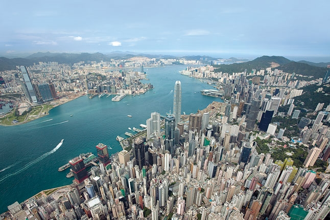 Aerial view of  Hong Kong  harbor