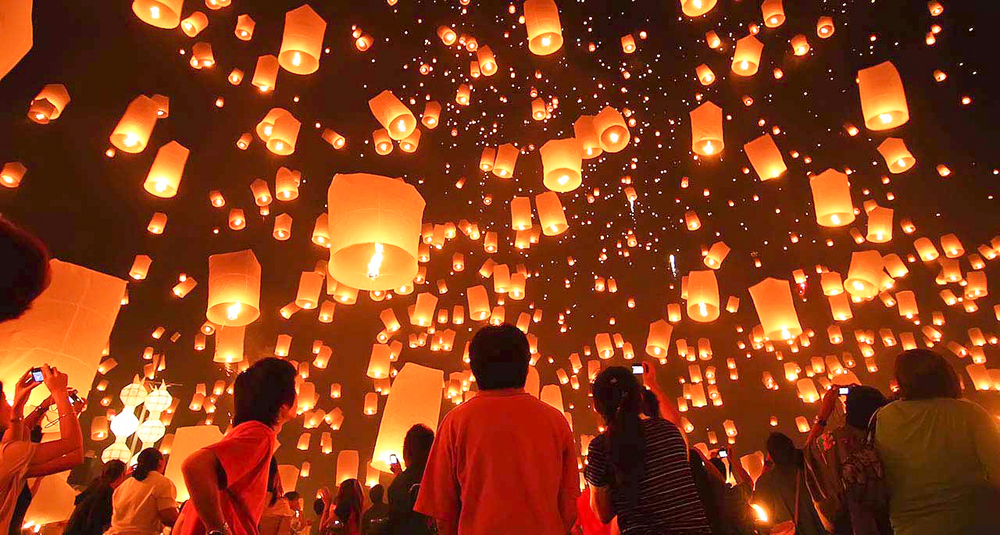 Lanterns litter the sky during the Taiwan Lantern Festival