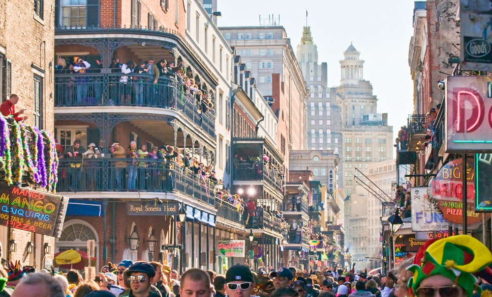 People pack into the streets of New Orleans during Mardi Gras