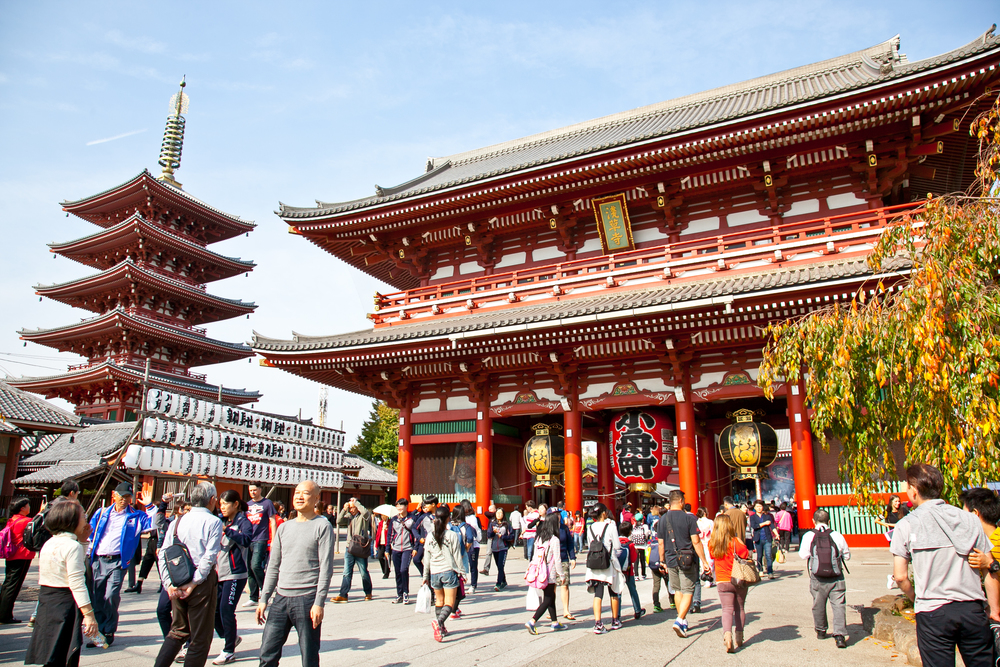 The main courtyard of the  Senso-ji  Temple