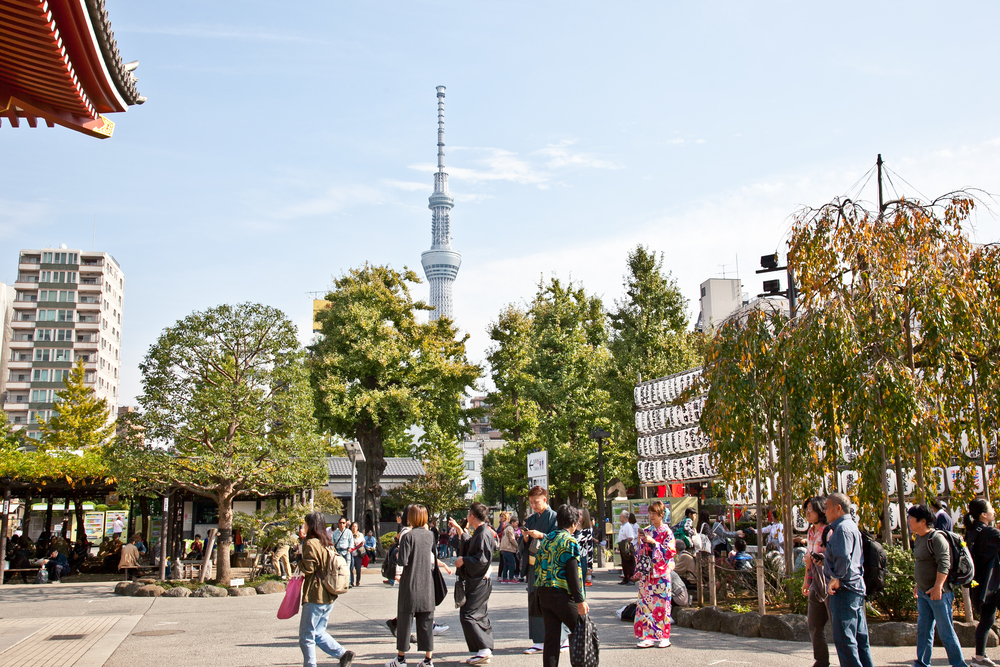 The view of the  Tokyo Skytree  from Senso-ji