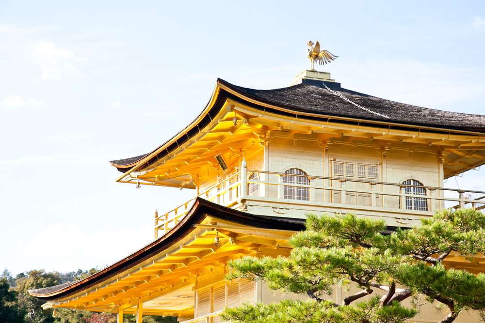 The two-floor Zen temple is completely covered in gold