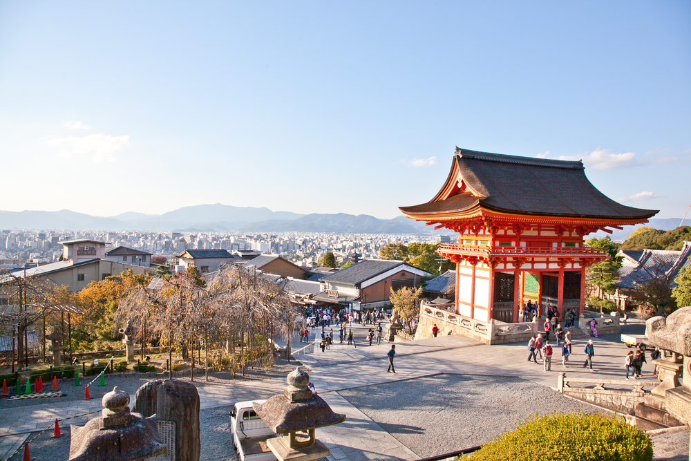 Entrance of the Kiyomizu-dera Temple looking back on Kyoto city
