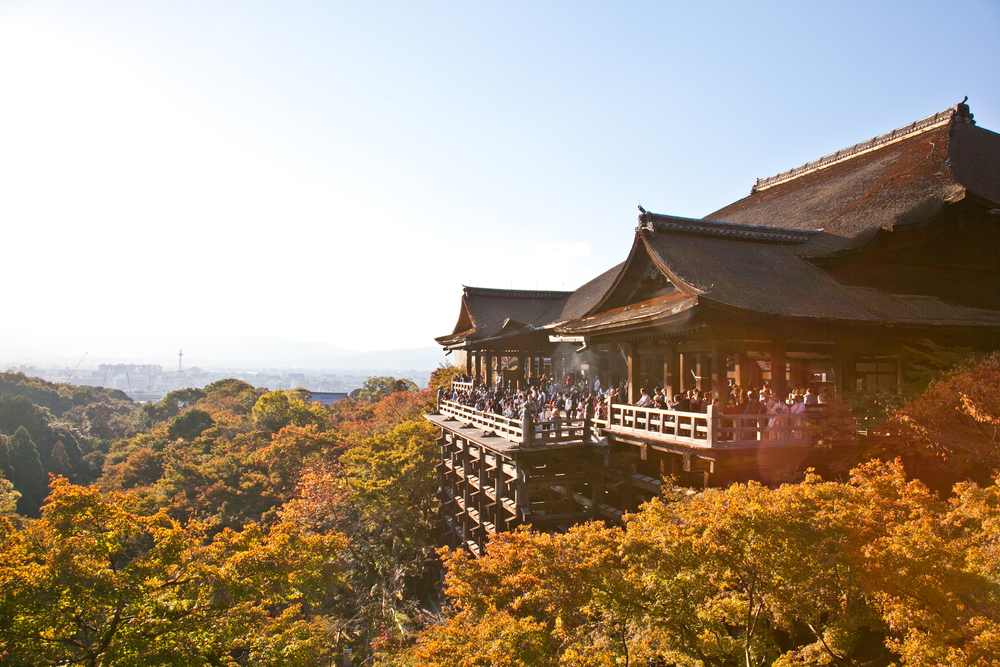 The most famous part of the Kiyomizu-dera is the wooden stage of the temple