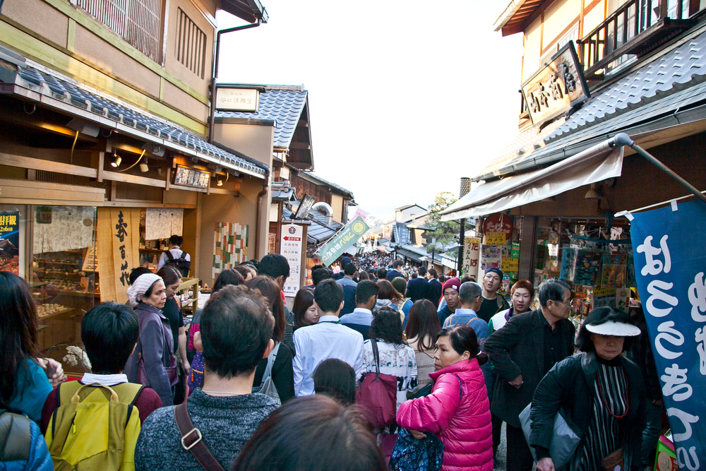 During the peak season of spring and fall, the streets of Higashiyama are packed with tourists & locals