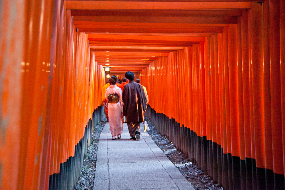 The start of the trail brings you to the most famous part: two mesmerizing rows of dense torii gates